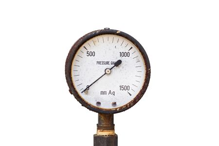 antique fire truck: Old pressure gauge on white background Stock Photo