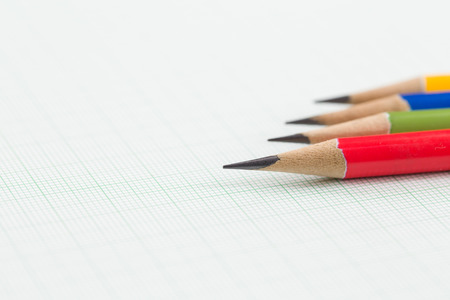 drafting: Drafting paper or graph paper with pencil. Stock Photo