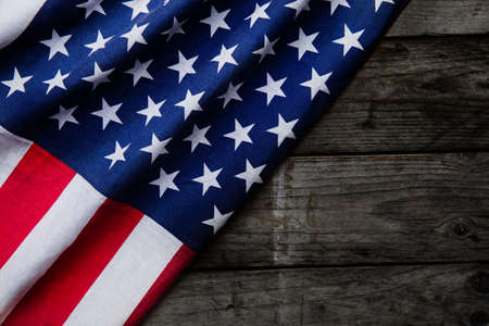 usa flag: Closeup of American flag on wood background