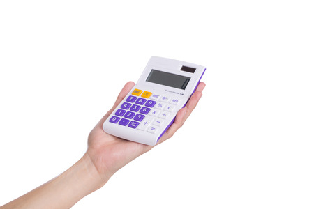 cpa: female businessman using a calculator on white background
