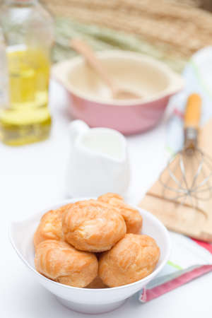 creampuff: Fresh Mini Cream Puffs ,Close Up on white background Stock Photo