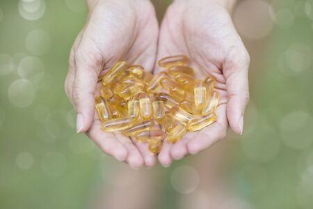 omega3: handful of Omega-3 capsules