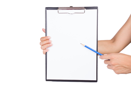 examiner: woman pointing on clipboard by pencil on white background