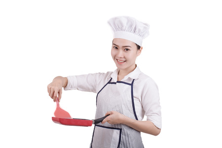 hi hat: Happy smiling asian chinese woman chef