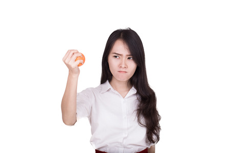 stress ball: asian woman in stress squeezing a stress ball