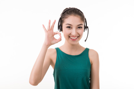 Asian women call center with phone headset with white background Foto de archivo