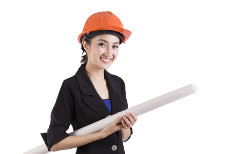 asian architect: Female engineer holding a building blueprint