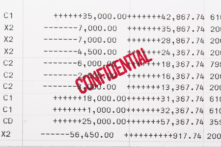 bank statement: confidential contents on the bank statement
