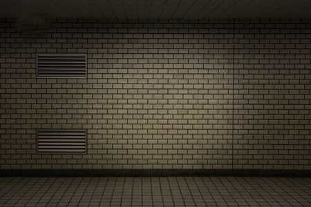 old stone wall: Old dark in subway with brick background Stock Photo