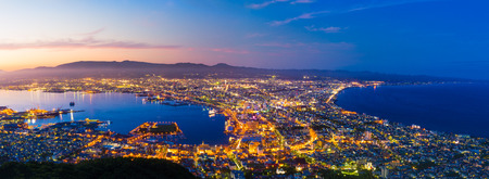 The city of Hakodate in the twilight, panorama Standard-Bild