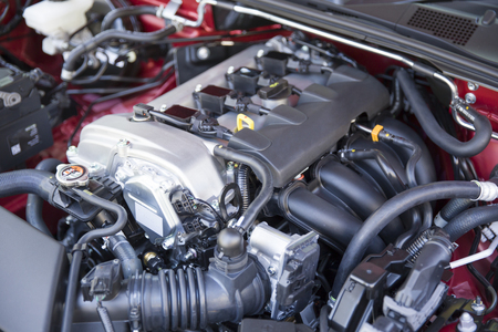 Close up detail of new car engine 스톡 콘텐츠