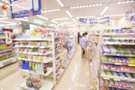 miscellaneous: supermarket blur background with bokeh, Miscellaneous Product shelf Stock Photo