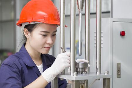 laboratory test: Engineer setup testing machine