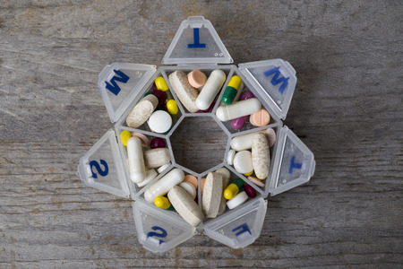 pillbox: Medicines daily set in a pillbox Stock Photo