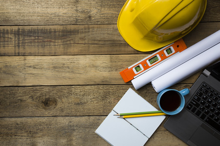 design tools: engineer desk background ,project ideas concept Stock Photo