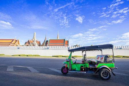 tuk tuk: Tuk tuk parking for waiting a passenger, Bangkok Thailand Stock Photo