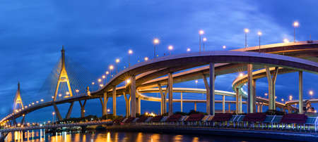bhumibol: Bangkok City - Beautiful sunset view of Bhumibol Bridge, Panorama Stock Photo