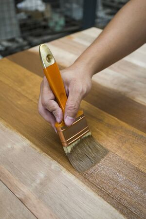 nature protection: Applying protective varnish on a wooden furniture