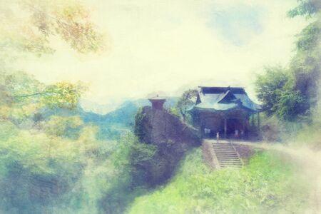 sutra: Yamadera Mountain temple of Yamagata, Japan,digital watercolor Stock Photo