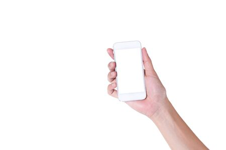 Hand holding white smartphone with blank screen