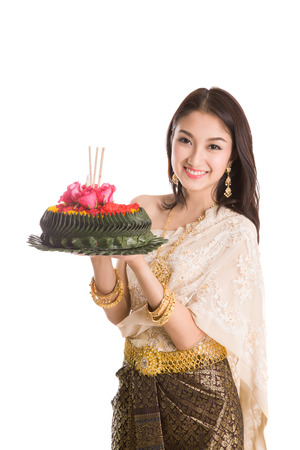 thai dancing: Loykratong tradition, Thai woman hold kratong