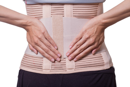 neoprene: Back support for muscle back on white background