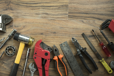old tools: Old tools on a wooden table
