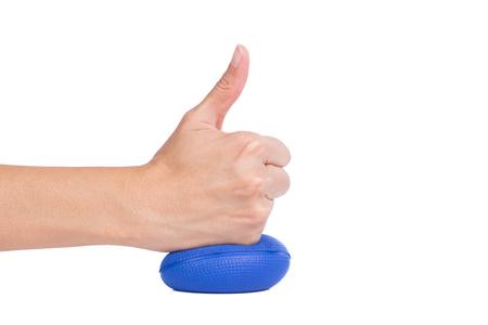 stress ball: Hands of a woman pressing a stress ball