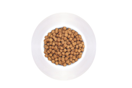 nutriment: Isolated a white bowl of dog food