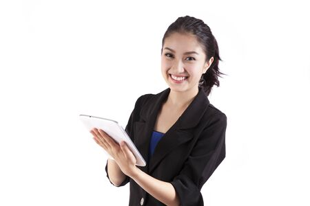 asian women: business woman holding tablet computer isolated on white background