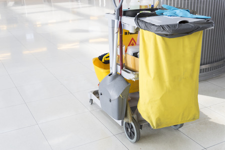 mopped: set of cleaning equipment in the airport
