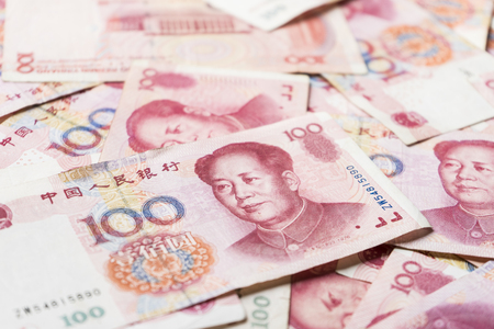 fanned: china money 100 bank note background
