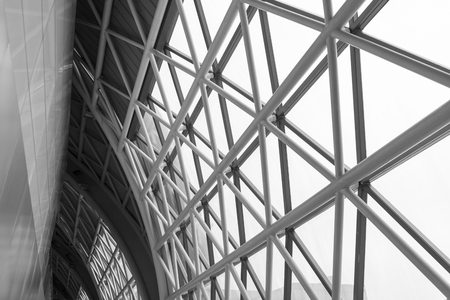steelwork: building construction of metal steel framework outdoors, black and white tone