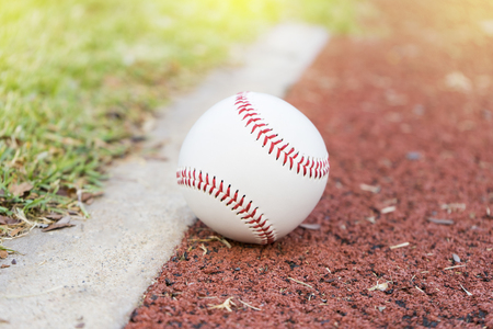 infield: close-up baseball on the infield chalk line Stock Photo