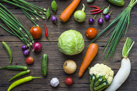 table top: Fresh vegetables on wooden table, top view