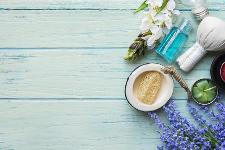 rejuvenate: spa theme object on wood background