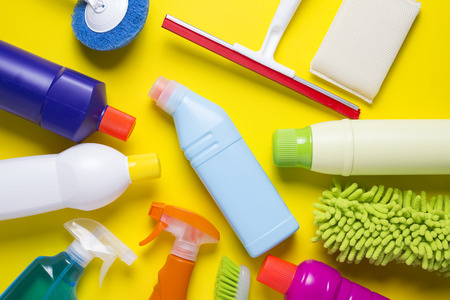 office cleanup: House cleaning product on colorful background