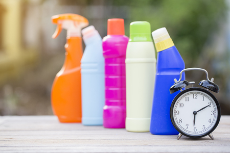 office cleanup: Cleaning time with cleaning materials and tools