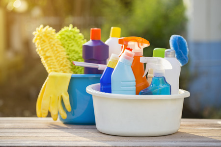 office cleanup: House cleaning product on the table, outdoor Stock Photo