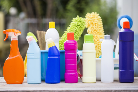 House cleaning product on the table, outdoor Stock Photo