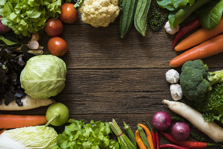 Fresh farmers market fruit and vegetable from above with copy space Stock Photo