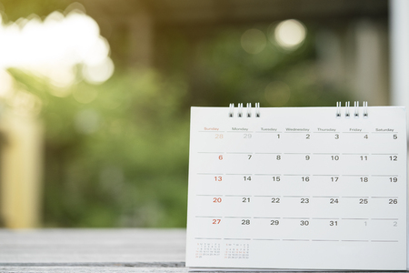 close up of calendar on the table for planner,business,organization,management schedule, calender concept. Stock Photo