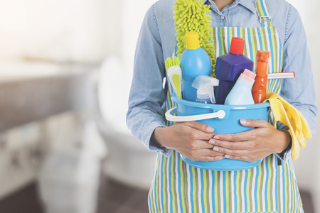 woman with cleaning equipment ready to clean house on toilet background