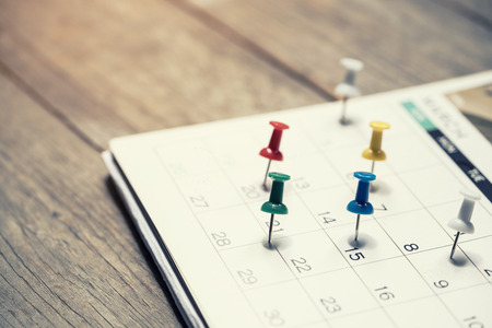close up of calendar on the table, planning for business meeting or travel planning concept Zdjęcie Seryjne