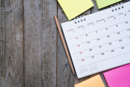 close up of calendar on the table, planning for business meeting or travel planning concept Stock fotó