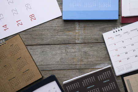 group of calendar on the table, planning for business meeting or travel planning concept Фото со стока