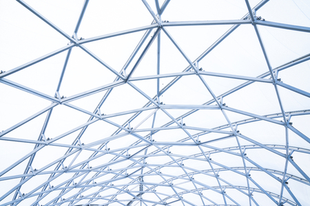 building construction of metal steel framework outdoors