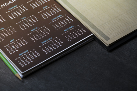 close up of calendar on the table, planning for business meeting or travel planning concept 版權商用圖片