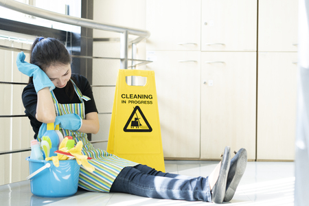 Housekeeping or maid taking a break while working with cleaning sign board, house or office cleaning service concept