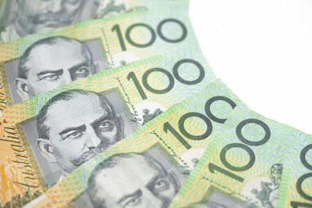close up of Australian one hundred dollar bills, finance, currency and business concept 版權商用圖片